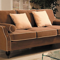 Carolyn Sofa with Contrast Piping - The contrast piping on this simple yet chic sofa is reminiscent of the Art Deco era. I love this piece and this price.
