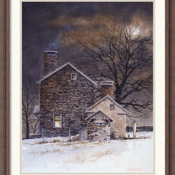 Amanti Art - Blue Moon Framed Print by Ray Hendershot - This homey print makes you want to curl up in front of the fireplace with a good book and a mug of hot tea. No matter where you live, this scene will bring you to a calm, quiet place.