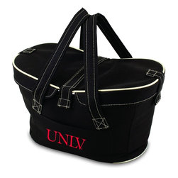 Picnic Time - University of Nevada Las Vegas Mercado Picnic Basket in Black - This Mercado Basket combines the fun and romance of a basket with the practicality of a lightweight canvas tote. It's made of polyester with water-resistant PEVA liner and has a fully removable lid for more versatility. Take it to the farmers market, the beach, or use it in the car for long trips. Carry food or sundries to and from home, or pack a lunch for you and your friends or family to share when you reach your destination. The Mercado is the perfect all-around soft-sided, insulated basket cooler to use when you want to transport a lunch or food items and look fashionable doing it.; College Name: University of Nevada Las Vegas; Mascot: Rebels; Decoration: Digital Print; Includes: 1 removable canvas lid