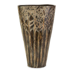 Large Amaris Vase - Earthy and imbued with mystery, you can almost imagine a wood nymph or elf peeking out from the forest of trees encircling this ceramic vase. For a coordinated look purchase both sizes.