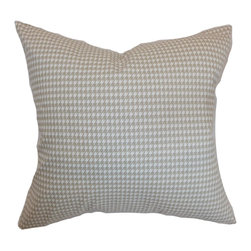 """The Pillow Collection - Lviv Houndstooth Pillow Powder Grey 18"""" x 18"""" - Spruce up your home's interiors by decorating this chic throw pillow. This accent pillow features a striking houndstooth pattern in subdued hues of powder blue and grey. This square pillow is a perfect accessory for your living room or bedroom furniture. Mix this with other prints for unique and fashion-forward styling. Crafted from 100% soft cotton fabric. Hidden zipper closure for easy cover removal.  Knife edge finish on all four sides.  Reversible pillow with the same fabric on the back side.  Spot cleaning suggested."""