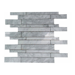"""GL STONE - Carrara White Marble Polished Random Strip Mosaic Tile - Glossy marble mosaic tile is one of the most popular tile for the interior wall and floors. This beautiful color of carrara white polished finished creates a sleek and attractive design to any room. The mesh backing not only simplifies installation, it also allows the tiles to be separated which adds to their design flexibility. These tiles will give a luminescent quality to any kitchen or any decorated spot in any room. Each sheet measures 12""""x 12""""( 1 sq. ft.) This mosaic tile is great for shower surround, bathroom floor, kitchen backsplash, or wall feature."""
