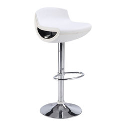 Global Furniture USA - M207BS White Leatherette & Chrome Adjustable Bar Stool Set of Two - The M207BS bar stool is comfortable as well as stylish with it's modern design. This stool is comes upholstered in a stunning white leatherette material. A unique cutout on the side of the seat hides the lever for height adjustment. The stool is height adjustable with a built-in hydraulic mechanism. The base features a foot rest and is crafted of metal with a chrome finish. The price shown includes two stools only.