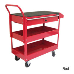 Excel - Excel 36-inch Steel Tool Cart - Keep your tools handy with this convenient steel tool cart featuring an industrial powder coated finish for durability. The Excel tool cart has one drawer with a lock,steel side handles,two shelf trays,side tray and a rubber top mat.