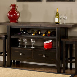 Hillsdale - 3 Piece Server Set - Featuring two open-air cabinets, wine bottle holders and pull out drawer. Combining the finishes of a distressed black base and an antique espresso top. Some assembly required. Leaf extends to 66 in. W. 50 in. W x 18 in. D x 36 in. H (186.6 lbs.)