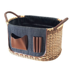Kouboo - Oval Organizing Wicker Basket with Utility Pockets - This hand-woven oval organizing wicker basket offers the toting space you need for your mobile office - or even a long car ride with the kids. Made from strong, flexible chair cane and finished with sturdy woven handles, it's the perfect portable storage solution. Store files, household or garden tools, or use it to carry tote books, files or office supplies. 1 year limited warrantyHand-woven from Chair Cane & WickerSturdy woven handles with braided microfiber leather coverSaddle made of Denim with various utility pockets in microfiber leatherWeighs 1.9 lb