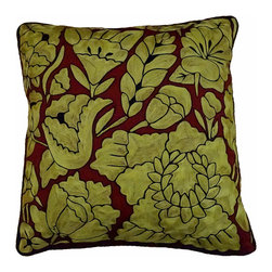 "Oaxacan Red and Gold Pillow - Stunning pillow made from Mexican embroidery. Silk threads are intricately woven into beautiful flowers. Insert included. Side Zipper. Black vinyl backing and piping. Size: 18"" square"