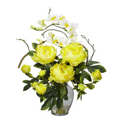 Nearly Natural - Nearly Natural Peony and Orchid Silk Flower Arrangement in Yellow - This exquisite Peony and Dendrobium arrangement projects a perfect harmony of color and design. The bright, tasteful, and colorful weaving of different textures and flower types creates a splendor that's simply not found in a single species. Standing at over 21 inches high and set in a glass vase with liquid illusion faux water, this makes the perfect addition to any home or office, and also makes a great gift.