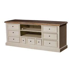 Cottage TV Cabinet-White - Inspired by the southwest coast of England, where the winding cobbled streets, color-washed cottages, and unspoiled beaches combine with picturesque tranquility. Our Cottage White Media Console is bench-built and hand finished in sundried ash and contrasted with stucco white, using only reclaimed and CERTIFIED solid wood, resulting in an authentic rustic appearance.