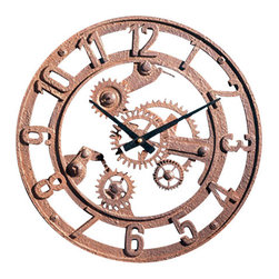 "Factory Direct Wall Decor - Small Arabic Gear Wall Clock - This Small Arabic Clock has a old world industrial feeling. This is a 14""W x 14""H x 2"" in Depth clock. This item weighs approximately 5 lbs, and requires one AA battery."