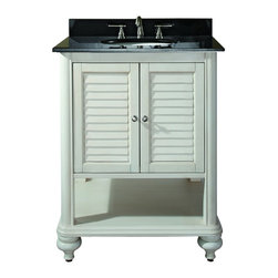 """Avanity - Avanity TROPICA-VS24-AW-B Tropica 25"""" Vanity Set in Antique White with Vanity To - Avanity TROPICA-VS24-AW-B Tropica 25"""" Vanity Set in Antique White with Vanity Top in Galala BeigeThe Tropica Vanity adds warmth with a touch of nostalgia to your bathroom. Offered in either a rich weathered brown or antique white finish over solid birch and veneer construction. Its features include soft-close cabinet hinges, adjustable height levelers and bottom open shelf for storage.  Also included is a granite vanity top and backsplash with a white vitreous china undermount sink.  Finish off your bathroom with the matching beveled mirror (sold separately).Please see our Delivery Notes for Freight Shipments for products that are oversized and/or are too heavy to ship UPS ground. Avanity TROPICA-VS24-AW-B Tropica 25"""" Vanity Set in Antique White with Vanity Top in Galala Beige, Features:bull; Dimensions: 25"""" w x 22"""" d x 35"""" h"""