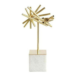Pre-owned Tubular Burst Object with Stone Base - This tubular burst object with stone base will add a dynamic, sculptural pop to any tabletop arrangement. Beautiful metallic and natural materials make this little gem a lux addition to any room.