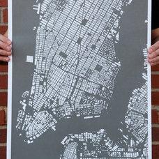 SALE CityFabric Manhattan NYC Map Print Grey