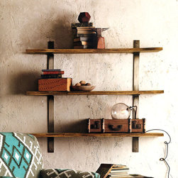 Live Edge Shelves - The natural bark edges of these shesham wood shelves contrast organically with the heavy duty forged steel framework. Each shelf will vary slightly in width due to the live edge. Mount in wall studs only.