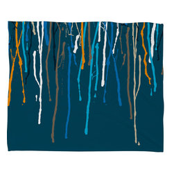DENY Designs - Geronimo Studio Blue Drips Fleece Throw Blanket - This DENY fleece throw blanket may be the softest blanket ever! And we're not being overly dramatic here. In addition to being incredibly snuggly with it's plush fleece material, it's maching washable with no image fading. Plus, it comes in three different sizes: 80x60 (big enough for two), 60x50 (the fan favorite) and the 40x30. With all of these great features, we've found the perfect fleece blanket and an original gift! Full color front with white back. Custom printed in the USA for every order.