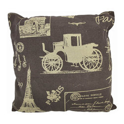 Vintage Paris Postcard Collage Brown Burlap Throw Pillow 16 In. - Add a French accent to your worldly home decor with this decorative throw pillow. It features a collage of tan colored Parisian postcard images on a brown background. The pillow measures 16 inches tall, 16 inches wide, has a removable burlap cover and 100% cotton padding inside. This pillow looks great on beds, chairs, and couches anywhere in your home, and the neutral colors are sure to complement almost any decor.