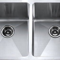 "Kraus - Kraus 33"" Undermount 50/50 Double Bowl 16 Gauge Stainless Steel Sink Combo Set - Add an elegant touch to your kitchen with a unique and versatile undermount sink from Kraus"