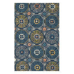 """Loloi Rugs - Loloi Rugs Tropez Collection - Navy/Multi, 5'-0"""" x 7'-6"""" - �Set the foundation for an island lifestyle with our Tropez Collection. Hand hooked in China of 100% polypropylene, Tropez features tropical inspired design with trending-now colors suited for outdoor living. Take a closer look (or zoom in), and you'll notice the use of mixed yarns that give Tropez a refined color blend. And like all of our indoor/outdoor rugs,Tropez is easy to clean and will withstand any rain or sunshine."""