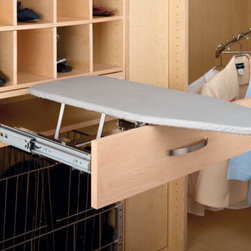 Rev-A-Shelf Fold-Out Ironing Board - Streamline your closet or laundry room by exchanging your clunky and awkward ironing board for a fold-out drawer ironing board. Save yourself the hassle of unfolding and setting up the ironing board each time you need to de-wrinkle your favorite sweater. All you need to do with this is pull the handle! A ball-bearing slide system and gravity lock allow the ironing board to smoothly pop up and unfold.