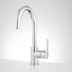 Montpellier Single Hole Gooseneck Kitchen Faucet - The Montpellier Single Hole Gooseneck Kitchen Faucet shines in its simplistic design.