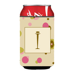 Caroline's Treasures - Letter I Initial Monogram - Tan Dots Can or Bottle Hugger - Can Cooler - this collapsible koozie fits 12 ounce beverage.  Cans or bottles.  Permanently dyed and fade resistant. Will not crack or peel.  Great to show off your breed.  Match with one of the insulated coolers for a nice gift pack.