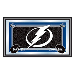 Trademark Global - Framed NHL Tampa Bay Lightning Team Logo Mirr - Here's the wall accent you've been looking for. Officially licensed by the NHL, it features the bold Tampa Bay Lightning logo and top quality wood frame. Plate glass is imprinted with non-fading, vibrant color for true sporting character anywhere in your home, office and more. Great for gifts and recreation decor. Mirror with print. Black wrapped wood frames. 26 in. W x 15 in. H (10 lbs.)This National Hockey League Officially Licensed Team Logo Wall Mirror is the perfect gift for the Hockey Fan in your life.