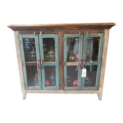 Antique Multi Color Pine Console Cabinet w/4 Doors - Antique Multi Color Pine Console Cabinet w/4 Glass Doors...This rustic treasure is made from hand selected antique brushed pine boards. Hand forged iron door pulls & hardware.
