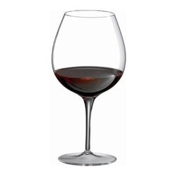 Ravenscroft Crystal - Crystal Fruit Red Wine Glass Set - Wine connoisseurs know that there are different glasses for each type of wine.  This set of four round-bowl stemware is ideal for serving fruity red wines such as Beaujolais or Pinot Noir.  From the Ravenscroft Invisibles series, these pure delicate crystal glasses seem to nearly disappear when at rest, placing the focus on the wine itself.  No well-appointed bar is complete without a spectacular set like this. Set of 4. As featured in Wine & Food and In Style Magazine. Capacity: 24.75 oz. . 8.24 in. H. Best with Barbaresco, Burgundy, Grand Cru, Beaujolais, Nebbiolo and Pinot Noir varietalsThe most discriminating understanding that a wine glass should be invisible. A wine glass should not compete. Ravenscroft Invisible wine glasses enhance pleasure by not distracting. They are practically invisible and weightless, like air. The perfect wine glass precisely controls bouquet and palate attack and then disappears. Tactile and sensual, a Ravenscroft Invisible is the greatest wine glass ever created. Lead-free and whisper light in precisely tuned shapes, Ravenscroft Invisible glasses are the perfect wine glass for the sensualist within all of us. The seductively sheer rim provides a whistler-like mouth-feel experience, while the tight chimney and deep rounded bowl allows dense fruit-driven lower alcohol wine to concentrate their bouquet and immerse the senses in the most intense experience possible.