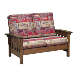 Chelsea Home Furniture - Chelsea Home Manheim Loveseat - Esquire Standard - The Manheim living room set makes a quality addition to any home with country decor. Handcrafted in solid White Quarter Sawn Oak with Asbury finish, this bow armed sofa, loveseat and chair set will last for years in your living room. Customize your furniture and relax in the comfort of plush upholstered zippered cushions available in standard or premium fabrics and a quality leather option. Chelsea Home Furniture proudly offers handcrafted American made heirloom quality furniture, custom made for you. What makes heirloom quality furniture? It's knowing how to turn a house into a home. It's clean lines, ingenuity and impeccable construction derived from solid woods, not veneers or printed finishes over composites or wood products _ the best nature has to offer. It's creating memories. It's ensuring the furniture you buy today will still be the same 100 years from now! Every piece of furniture in our collection is built by expert furniture artisans with a standard of superiority that is unmatched by mass-produced composite materials imported from Asia or produced domestically. This rare standard is evident through our use of the finest materials available, such as locally grown hardwoods of many varieties, and pine, which make our products durable and long lasting. Many pieces are signed by the craftsman that produces them, as these artisans are proud of the work they do! These American made pieces are built with mastery, using mortise-and-tenon joints that have been used by woodworkers for thousands of years. In addition, our craftsmen use tongue-in-groove construction, and screws instead of nails during assembly and dovetailing _both painstaking techniques that are hard to come by in today's marketplace. And with a wide array of stains available, you can create an original piece of furniture that not only matches your living space, but your personality. So adorn your home with a piece of furniture that will be future history, an investment that will last a lifetime.