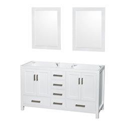 """60"""" Double Bathroom Vanity in White, No Countertop, and 24"""" Mirror, Mirror - Distinctive styling and elegant lines come together to form a complete range of modern classics in the Sheffield Bathroom Vanity collection. Inspired by well established American standards and crafted without compromise, these vanities are designed to complement any decor, from traditional to minimalist modern."""