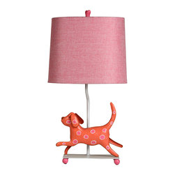 Stylecraft - Stylecraft L11086DS Mini Iron Dog Lamp, (Red Dog, Pink Shade) - Stylecraft L11086DS Mini Iron Dog Lamp, (Red Dog, Pink Shade)