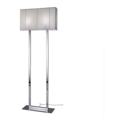 Axo Light - Clavius Floor Lamp - Clavius Rectangular floor lamp features a handmade silk thread shade and a chrome finish. Shade available in white, tobacco and black color. Available in a rectangular or square shape option as well as a wall sconce, ceiling flush mount, suspension, table and floor lamp version. Two 100 watt, 120 volt, A19 medium base incandescent lamps included. General light distribution. ETL listed. Made in Italy. Shade is 23.63W x 13.75H x 5.88L, total height of floor lamp is 65 inches.