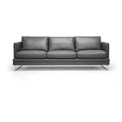 Wholesale Interiors - Dakota Pewter Gray Leather Modern Sofa - Sleek, simple, and stylish: you will fall for the Dakota Contemporary Sofa's minimalism and versatile design. This stunning piece of modern living room furniture is made with a wooden frame, steel legs with chrome finish, foam cushioning, and pewter gray bonded leather. Additional details include removable cushions and non-marking feet. This Chinese-made sofa requires assembly and should be wiped clean with a damp cloth immediately before being dried. A matching loveseat is also available (sold separately).Seat dimensions: 18.5 inches high x 82.5 inches wide x 21 inches deep