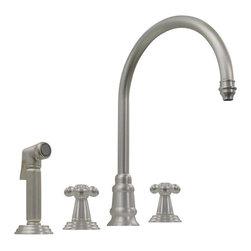 Whitehaus - Whitehaus Wh15664-Wb Gooseneck Swivel Spout Faucet - Evolution widespread mixer with gooseneck swivel spout, lever style handles