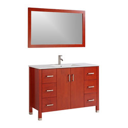 """Legion Furniture - 48 Inch Transitional Single Sink Bathroom Vanity - This 48 inch Transitional Single sink bathroom vanity is a perfect center piece for your bathroom project.  This Cherry bathroom vanity features 2 Doors, 6 Drawers; Soft Close Hinges and Guides , and a White Ceramic with Integrated Sink counter top with a Integrated White Ceramic sink that is Pre-Drilled for Single Hole Faucet (Included). Large opening in back for easy plumbing installation.  Dimensions: 48""""W X 18""""D X 34""""H (Tolerance: +/- 1/2""""); Counter Top: White Ceramic with Integrated Sink; Finish: Cherry; Features: 2 Doors, 6 Drawers; Soft Close Hinges; Hardware: Brushed Nickel; Sink(s): Integrated White Ceramic; Faucet: Pre-Drilled for Single Hole Faucet (Included); Assembly: Light Assembly Required; Large Cut Out in Back for Plumbing; Included: Cabinet, Sink, Brushed Nickel Faucet, Mirror (47"""" W X 1""""D X 27.5""""H); Not Included: Backsplash"""