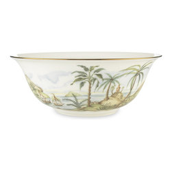 Lenox - Lenox British Colonial Serving Bowl - Two graceful sailboats enter a quiet cove in the tropical scene that encircles this versatile Lenox British Colonial serving bowl. Crafted of white-bodied Lenox fine bone china accented with 24 karat gold.