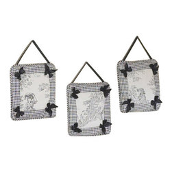 Sweet Jojo Designs - Black Toile Wall Decor - The BlackToile Wall Decor by Jojo Design include 3 wall hangings that will add a designers touch to any childs room! These childrens wall hangings are handcrafted with care and will brighten any childs room or nursery.