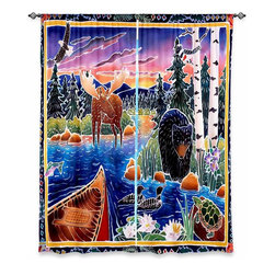 "DiaNoche Designs - Window Curtains Unlined by Harriet Peck Taylor - Sunrise at Bear Lake - Purchasing window curtains just got easier and better! Create a designer look to any of your living spaces with our decorative and unique ""Unlined Window Curtains."" Perfect for the living room, dining room or bedroom, these artistic curtains are an easy and inexpensive way to add color and style when decorating your home.  This is a tight woven poly material that filters outside light and creates a privacy barrier.  Each package includes two easy-to-hang, 3 inch diameter pole-pocket curtain panels.  The width listed is the total measurement of the two panels.  Curtain rod sold separately. Easy care, machine wash cold, tumbles dry low, iron low if needed.  Made in USA and Imported."