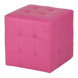 Cortesi Home - Braque Cube Ottoman, Pink - The Braque cube ottoman  is an easy way to update the look of your home. It is upholstered in a leather like vinyl featuring square tufting on all sides.  It also features plastic non marking feet and is lightweight yet durable.