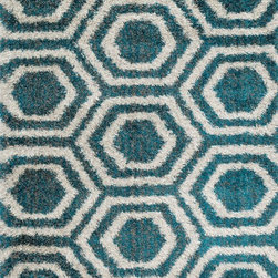 """Loloi - Loloi Barcelona Shag BS-09 (Blue) 5'2"""" x 7'7"""" Rug - The new Barcelona Shag Collection offers a machine-made version of the hot category. The contemporary line is made in Egypt of polypropylene and viscose for just a touch of shimmer. Four designs in all include two solid styles, a playful Rainbow design and dramatic Fire pattern"""