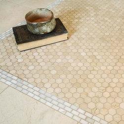 Hexagon Mosaic Tiles - hexagon mosaics, mosaic tiles, shower floor tile, vintage tile, bathroom tile, shower accent tile, slip resistant tile, how to clean tile, marble tile, crema marfil tile, polished mosaics, matte tile, honed tile, hexagon floor tile