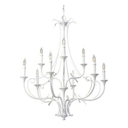 Murray Feiss - Murray Feiss F2534/6-3 Peyton 9 Light Wrought Iron 2 Tier Chandelier - Features: