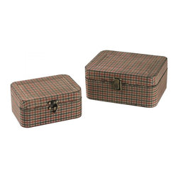 Sterling Industries - Set Of 2 Gingham Wrapped Boxes - Set Of 2 Gingham Wrapped Boxes