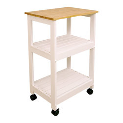 Catskill Craftsmen - Catskill Craftsmen Microwave/Utility Butcher Block Kitchen Cart in White - Catskill Craftsmen - Kitchen Carts - 81515 -Add convenience and warmth to your kitchen with the Catskill Craftsmen Microwave/Utility Cart. The locking wheel casters provide great mobility and make this an easy addition to your kitchen. So prepare a gourmet meal with the Microwave/Utility Cart.