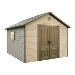 Lifetime 11 x 13.5 ft. Outdoor Storage Shed - Additional features:Five 30 x 10-inch shelvesOne 30 x 14-inch shelfTwo 16-inch peg strips with tool hooksExterior dimensions: 10.3W x 12.8D x 9.3H feetInterior dimensions: 10W x 12.54D x 9.2H feetDoor dimensions: 4.8W x 6.4H feetDesigned to meet a broad range of storage needs, the Lifetime 11 x 13.5 Foot Outdoor Storage Building's large size lets you use it a s a gardening shed, pool house, workshop, or tool shed. Offering 983.2 cubic feet of space, this outbuilding from Lifetime Sheds will store your riding lawnmower, snow mobile, all large gardening and lawn equipment, off-season patio furniture, and more. Constructed from high-density polyethylene (HDPE) plastic with powder-coated steel reinforcements, this sturdy shed is weather- and- rust-resistant and designed to withstand the harshest elements for years to come. And since it is UV-protected and stain-resistant, it requires no painting or maintenance. Double doors allow easy access to the inside, while an internal spring latch, interior deadbolts, and an exterior padlock loop ensure the security of your property. Two lockable, sliding windows, two large skylights, and two screened vents let in enough natural light, so you can easily make your way around during the day. Five 30 x 10-inch shelves, one 30 x 14-inch shelf, and two 16-inch peg strips with tool hooks allow you to create the perfect storage area to suit your needs. This storage building comes with a 10-year limited manufacturer's warranty. Assembly is a weekend project for one or two people. About Lifetime ProductsOne of the largest manufacturers of blow-molded polyethylene folding tables and chairs and portable residential basketball equipment, Lifetime Products also manufactures outdoor storage sheds, utility trailers, and lawn and garden items. Founded in 1972 by Barry Mower, Lifetime Products operates out of Clearfield, Utah, and continues to apply innovation and cutting-edge technology in plastics and metals to create a family of affordable lifestyle products that feature superior strength and durability.