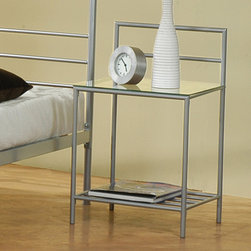 """Coaster - Contemporary Iron Night Stand in Silver - Matching nightstand for Iron Queen Bed 300221QN.; Contemporary Style; Silver finish; No assembly required.; Dimensions: 18""""L x 16.75""""W x 29.75""""H"""