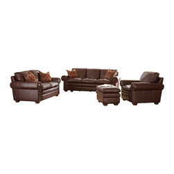 "Steve Silver Furniture - Steve Silver Yosemite 4 Piece Living Room Set in Chestnut Leather - Create a comfy & casual living room with the Yosemite collection. The Yosemite group features a sofa, loveseat, chair and ottoman that are covered in soft, supple and durable leather called Akron Chestnut.  Akron Leather will provide you with years of comfort, wear and durability. The Yosemite Collection features pillow top seating for years of relaxed comfortable seating.  Deeply padded seat backs and pillow top arms are featured on every seat that creates that ""sink in"" feel every time you sit down. Decorative double stitched seats and backs add to the rustic charm and look of the Yosemite.  The Yosemite features solid wood legs and decorative nail head trim.  The Yosemite would be the perfect fit for a casual living room or home entertainment room."