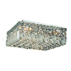 """PWG Lighting / Lighting By Pecaso - Chantal 5-Light 14"""" Crystal Flush Mount 1728F14C-EC - The unique design of the Chantal Collection inspires any room setting. Dazzling spectacles of light sparkles throughout the fixture creating a modern, yet timeless beauty and elegance."""