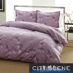 City Scene - City Scene Blossom Purple Floral Reversible Comforter Set - The City Scene blossom 100-percent cotton reversible purple comforter set with a lovely floral pattern will surely bring a charming modern look into your bedroom. The set includes a comforter and two standard shams.