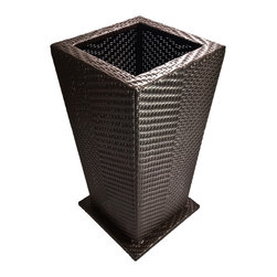 Dola - All Weather Modern Outdoor Wicker Planter, Espresso Brown - Showcase your earthly landscape with style! These stunning planters are designed to showcase your plants and add luxurious style with a modern twist. Each planer is constructed of espresso brown resin wicker, woven around a powder coated aluminum frame. The planter has a shelf mid way inside, raising your plant high and making plant care easy!